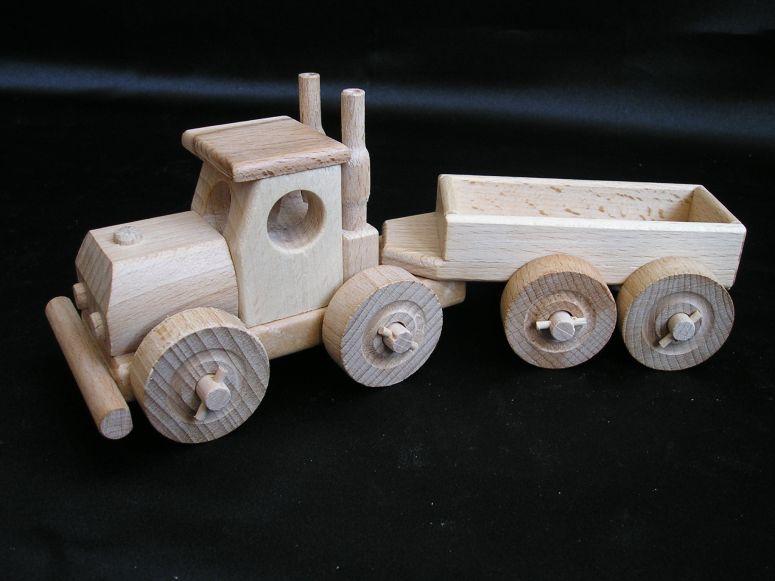 camion aus holz truck mit anh nger holzspielzeug f r kinder lkw flugzeuge stra enbahn bus. Black Bedroom Furniture Sets. Home Design Ideas