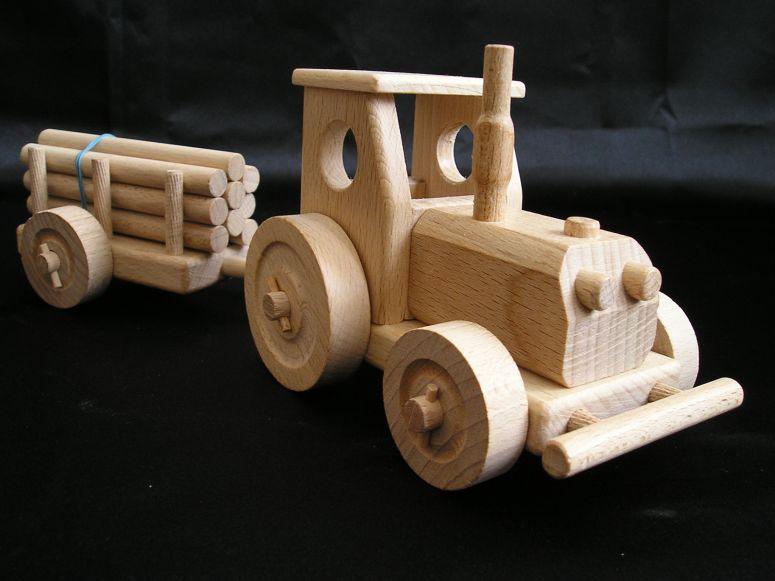 Waldtraktor mit anhänger holzspielzeug für kinder lkw