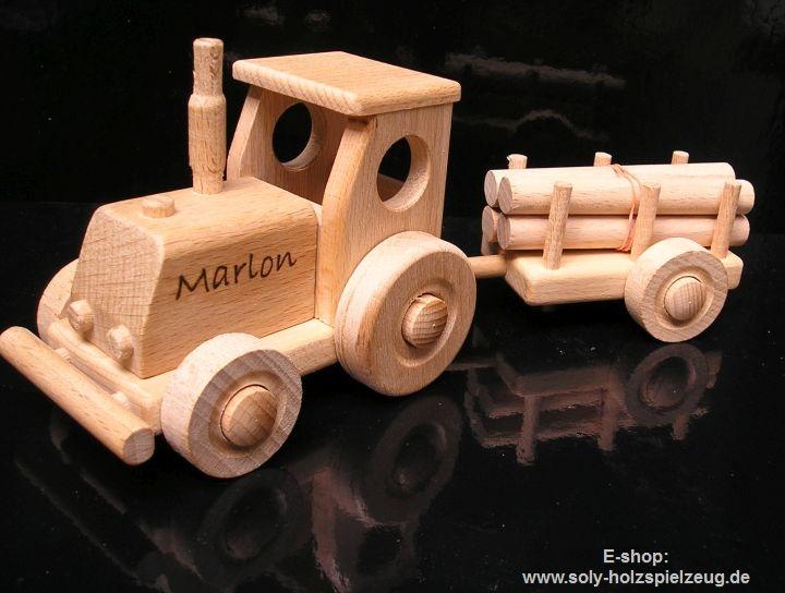 Spielzeug traktor aus holz mit anhänger geschenk