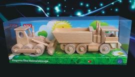 Bulldozer + Lkw