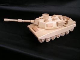 Militärtank aus Holz, Panzer Spielzeug ABRAMS
