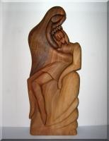 Jesus Kreuzigung und Maria Mutter Gottes Statue aus Holz