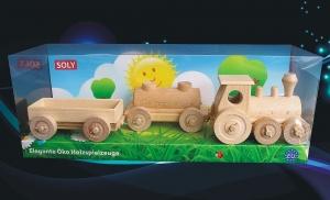 Holzgüterzug mit holzwaggons