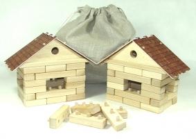 Holz Natur-Bausteine Haus 48 st. + Dach + Beutel
