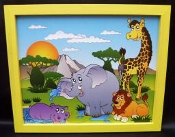 Bilder für's Kinderzimmer Nilpferd Lowe Elefant Giraffe