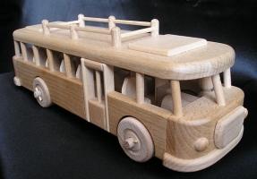 Spielzeug Bus aus Holz, natur