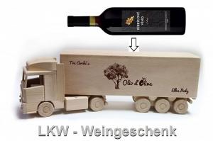 Holz-LKW, Geschenk für Flasche Wein