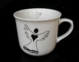 Große Porzellan Teetasse 0,5 l mit einem Engel