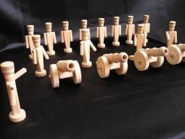 Kompanie kleine Soldaten mit Kanone Spielzeug aus Holz