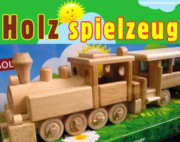 Lokomotive mit Personenwagen Holzspielzeug