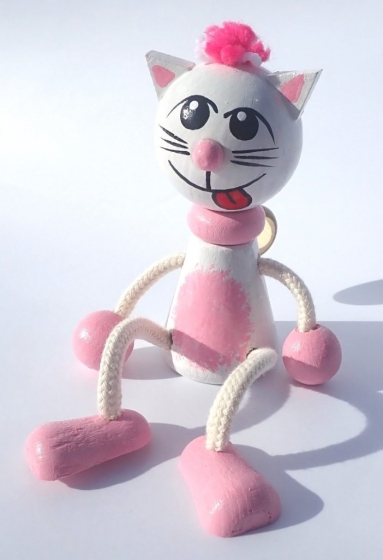 Katze auf der Sprungfeder Holzspielzeug
