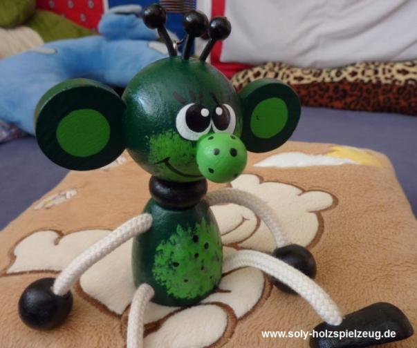 Elf auf der Sprungfeder Holzspielzeug