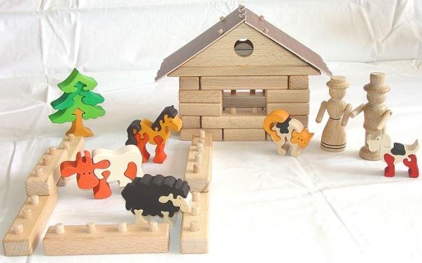 Baukasten Bauernhof + Puzzle - Kuh, Schafe, Hund, Katze, Pferd