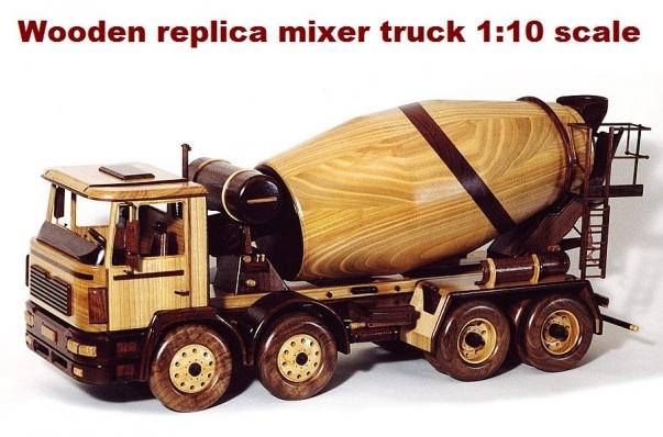 Betonmischer Man Replica aus Holz 1:10