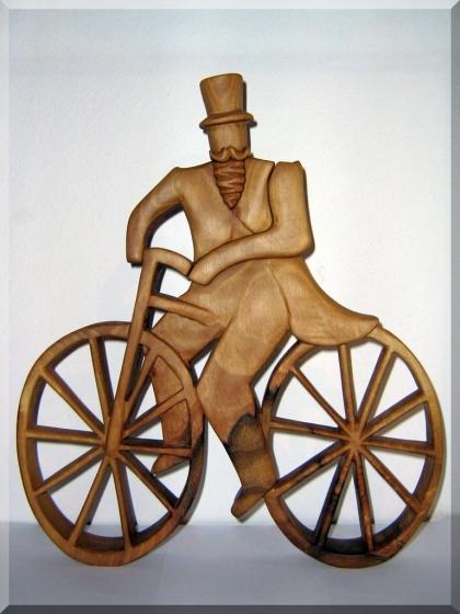 Radfahrer hölzerne Statuette - Skulptur 35 cm