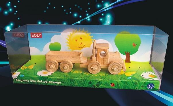 Camion aus Holz. Truck mit Anhänger.