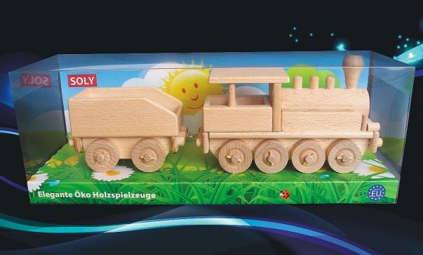 Holzlokomotive mit einem Kohlen, Spielzeug