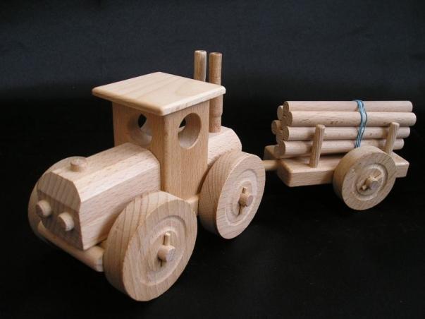 Kinder Traktor Spielzeug aus Holz Geschenk