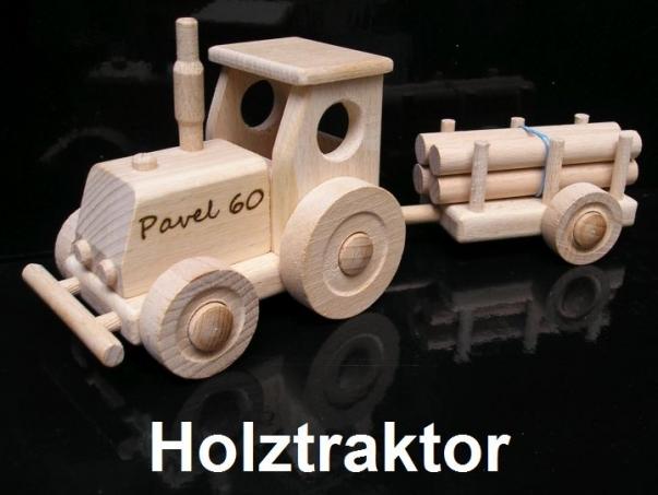 Spielzeug Traktor aus Holz mit Anhänger, Geschenk