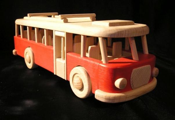 Spielzeug Bus aus Holz, rot