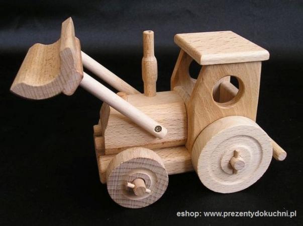 Kleiner Holz Traktor mit Pflug, Spielzeug Geschenke