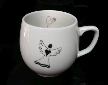 Kaffeebecher 0,3 l Porzellan weiß mit Engel