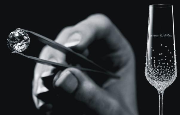Sektglas 1 Stk mit Swarovski-Kristallen Hochzeitsgeschenk
