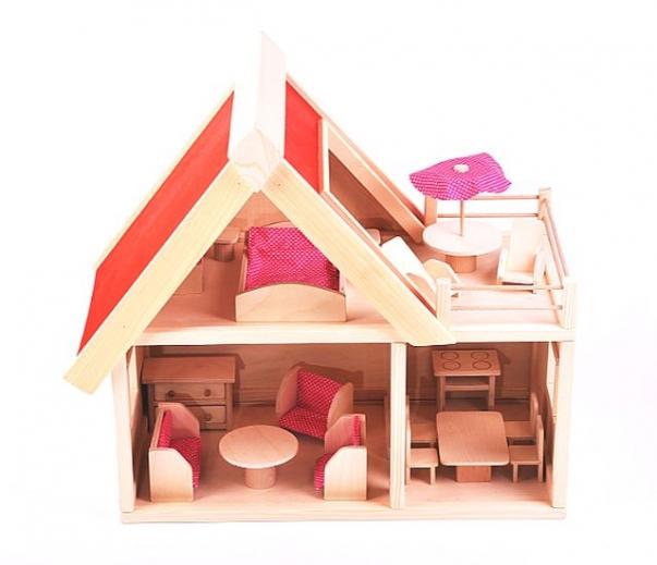 Holz Puppenhaus mit Möbeln, 17 Möbelstücke