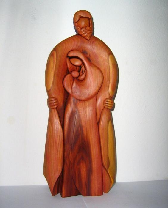 Gott, Jesus und Maria-Statue aus Holz
