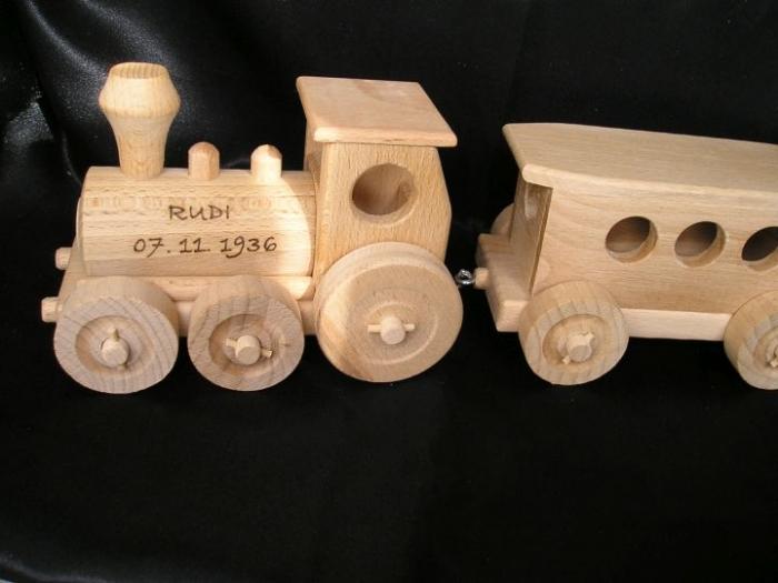 Holz-Zug, Eisenbahn Spielzeuge mit Gravur