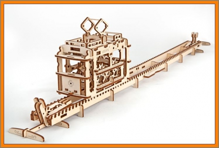 D Puzzle Holzpuzzle STRAßENBAHN  Modell Baukasten