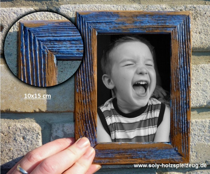 Retro Fotorahmen aus Holz 10x15 cm, blau