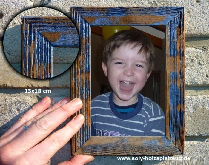 13x18 cm Fotorahmen aus Holz, blau