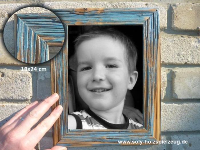 18x24 cm Fotorahmen aus Holz, blue