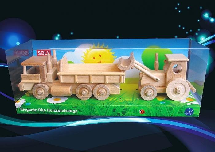 Holztraktor und lkw spielzeug.