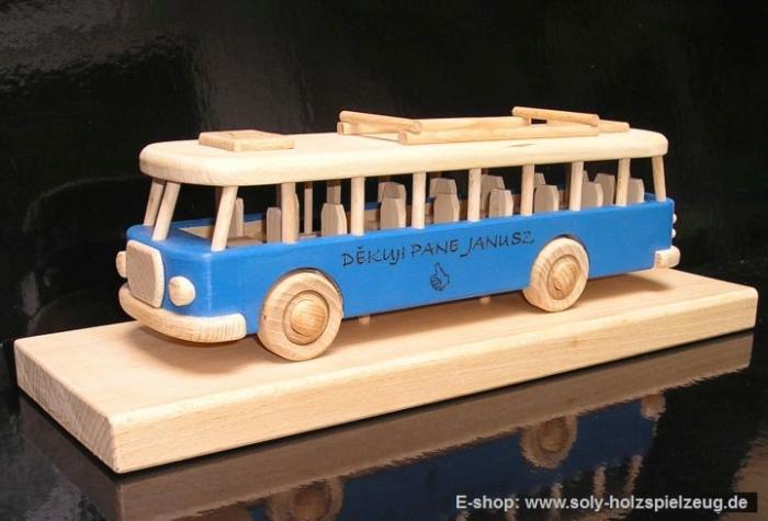 Spielzeug Bus blau holz Geschenk