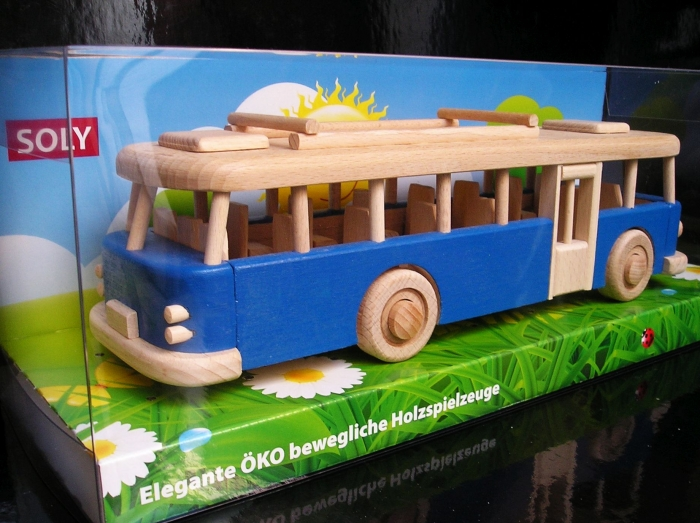 Blue Bus aus holz, Spielzeug