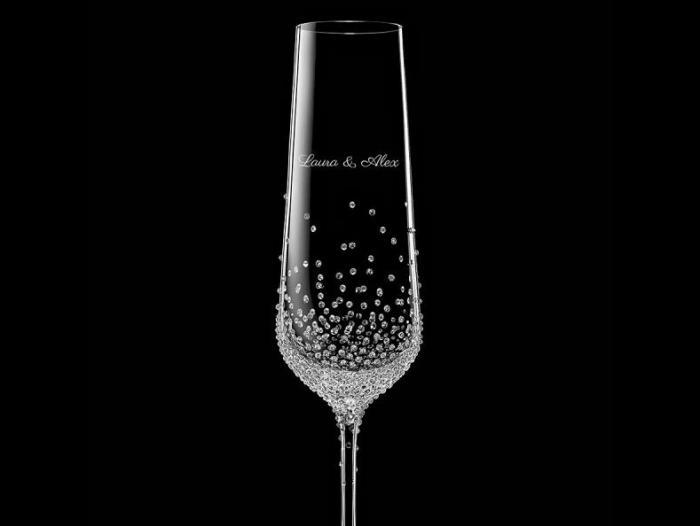 Champagnerglas 2 Stk mit Swarovski-Kristallen