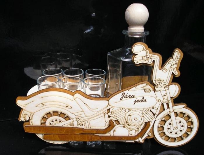 Geschenk Motorrad, Biker mit Flasche 6x Glas
