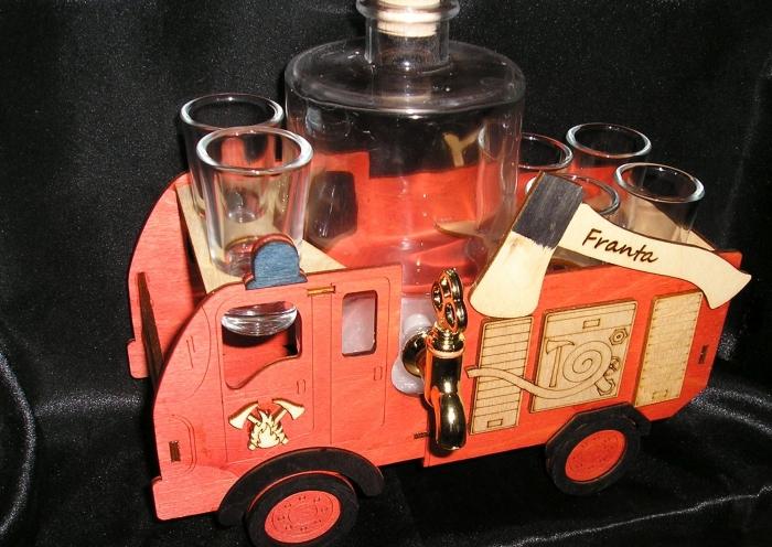 Feuerwehrauto Geschenk Geburtstag Flasche