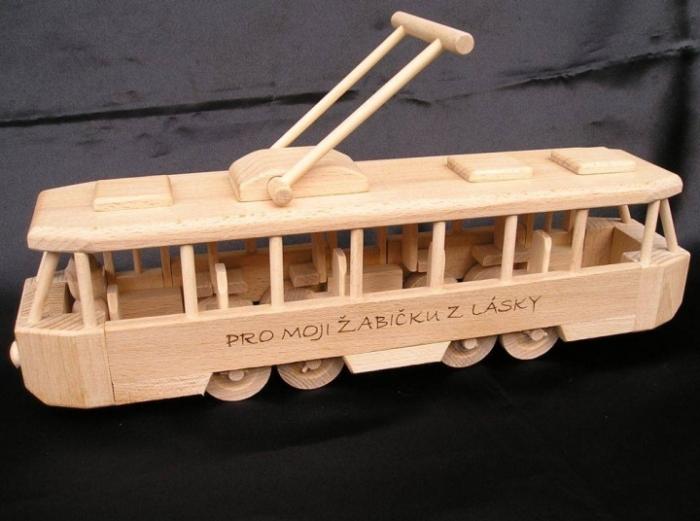 Strassenbahn mit Gravur Name